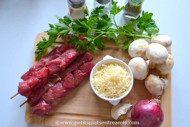 ingrédients pour brochettes de boeuf au barbecue