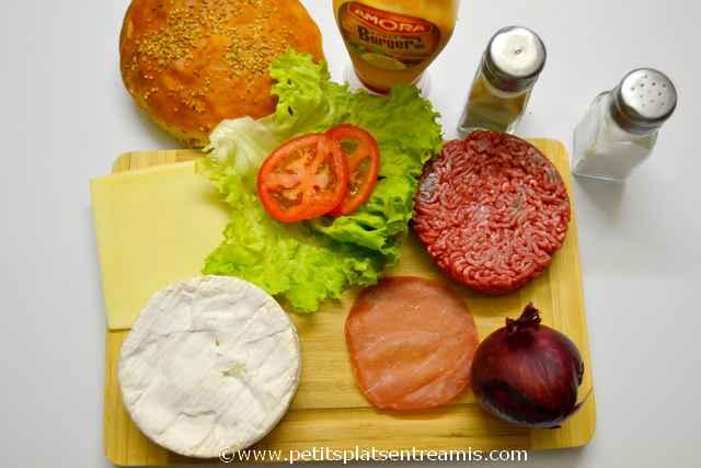 ingrédients pour hamburger au camembert