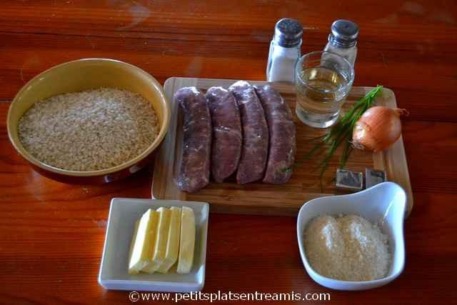 ingrédients pour risotto à la saucisse