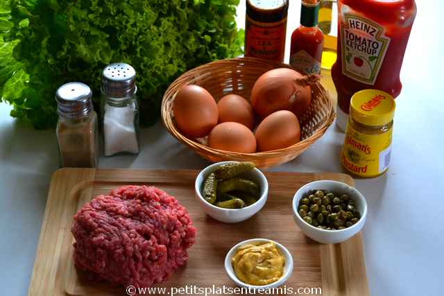 ingrédients pour steak tartare