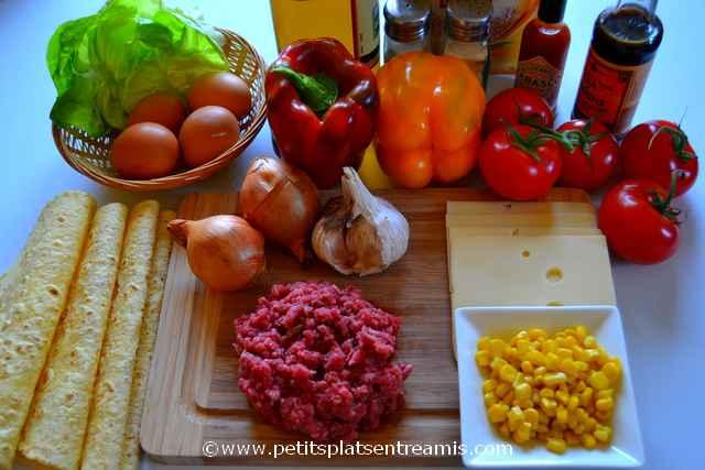 ingrédients pour tacos au boeuf