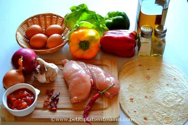 ingrédients pour tacos au poulet