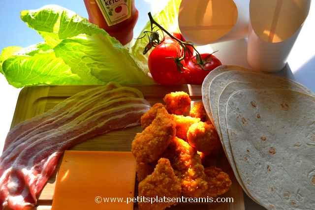ingrédients wrap au poulet