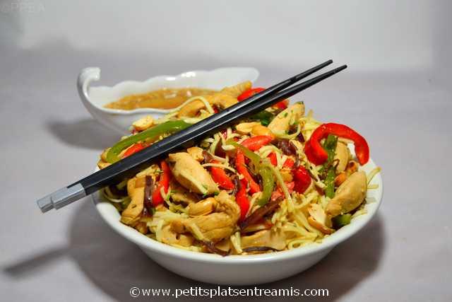 plat de poulet-sauté-aux-nouilles-chinoises
