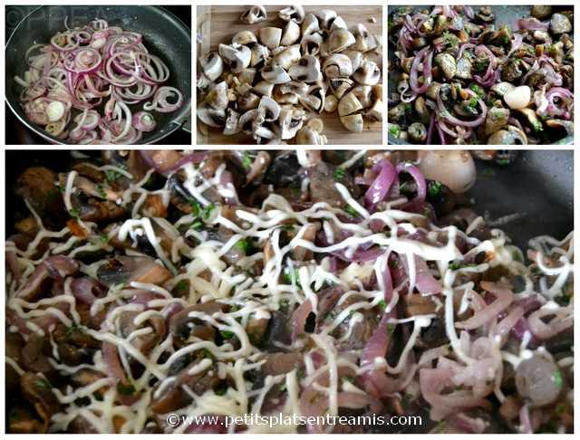 poêlée oignons rouges et champignons