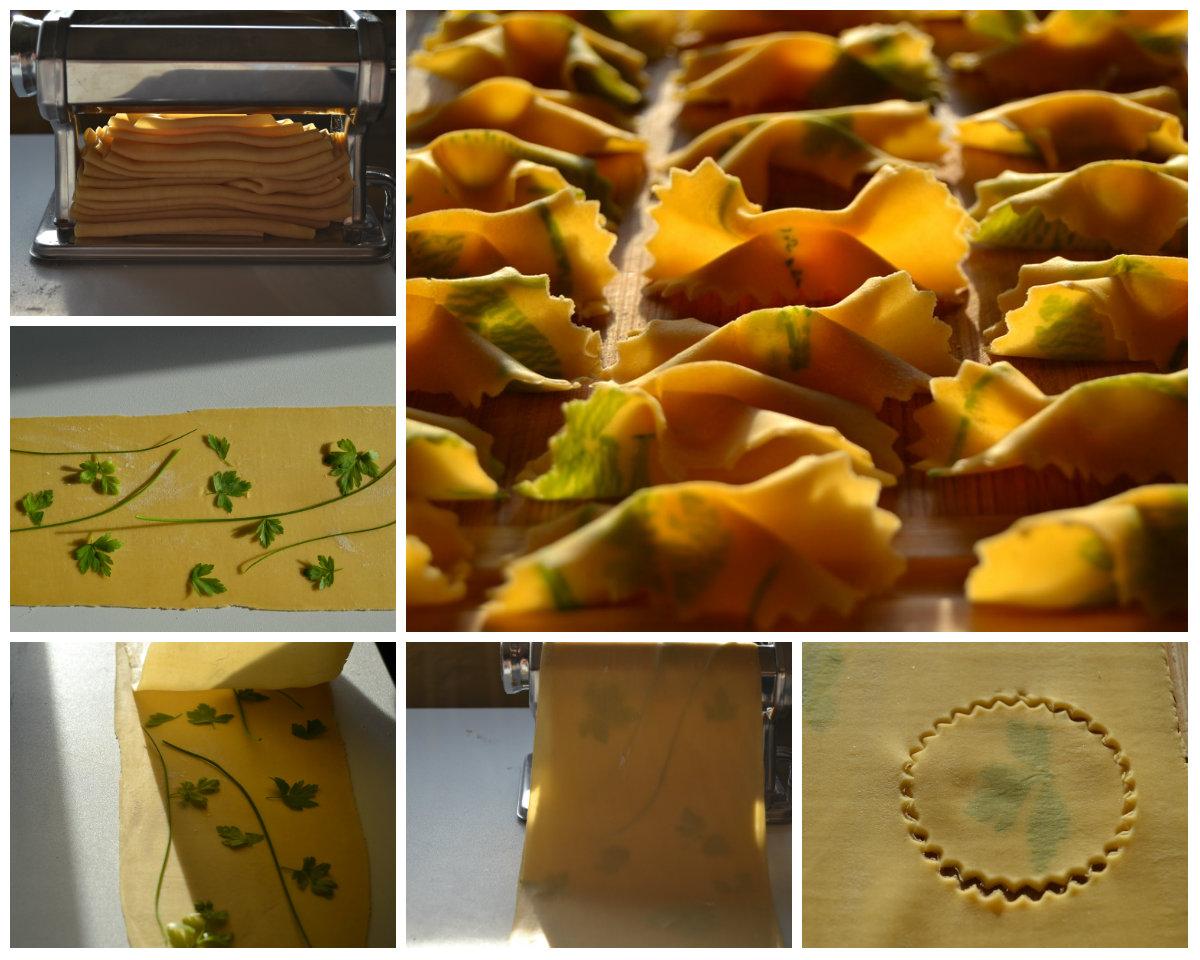 préparation des pâtes en imprimé d'herbes