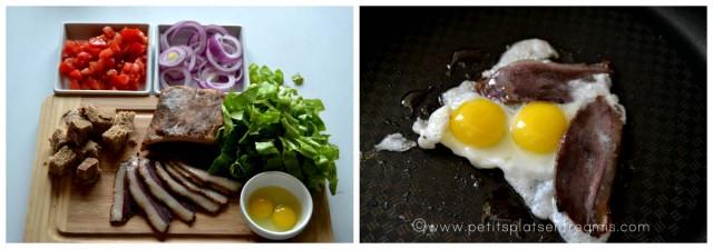 préparation salade au magret séché