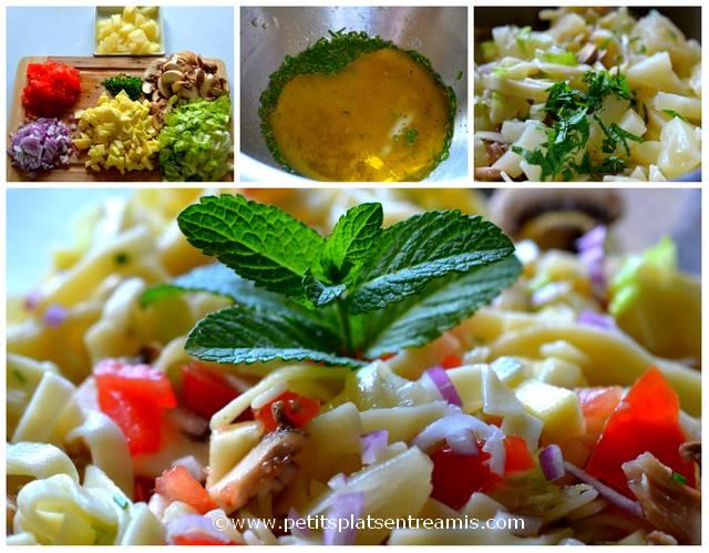 préparation salade de pâtes aux agrumes