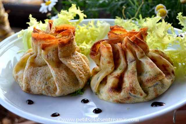 aumonières-jambon-et-champignons servies
