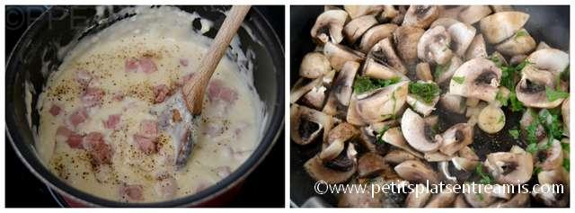 cuisson béchamel et champignons