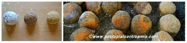 cuisson des boulettes de boudin