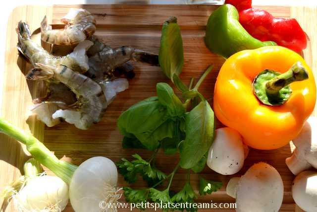 ingrédients brochettes gambas et légumes
