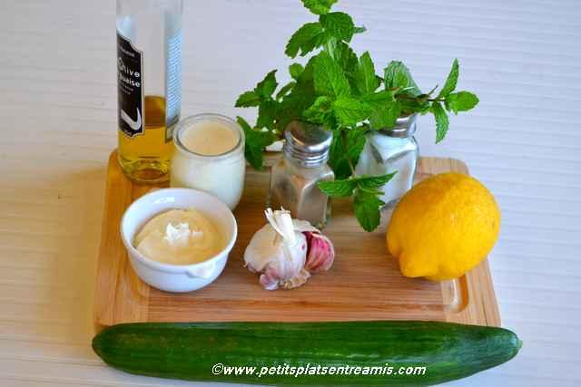 ingrédients concombre à la menthe