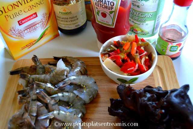 ingrédients crevettes sauce aigre douce