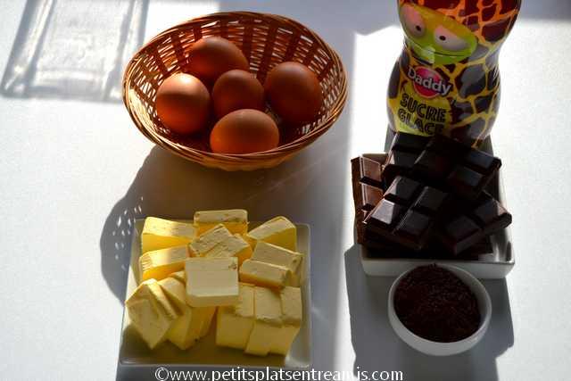 ingrédients gâteau fondant au chocolat