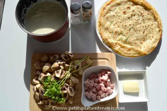 ingrédients pour aumonières jambon et champignons