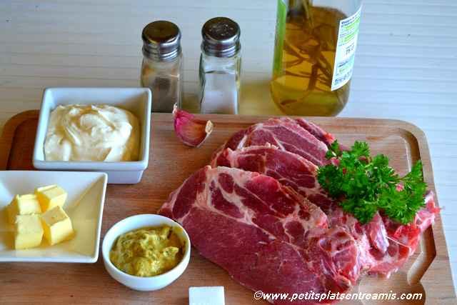 ingrédients pour côtes de porc à la moutarde