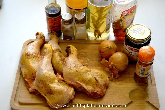 ingrédients pour cuisses de poulet au barbecue