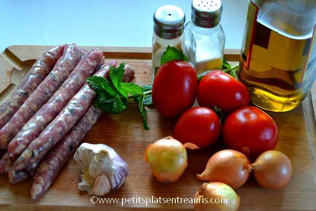 ingrédients pour sauces d'agneau amandes et menthe