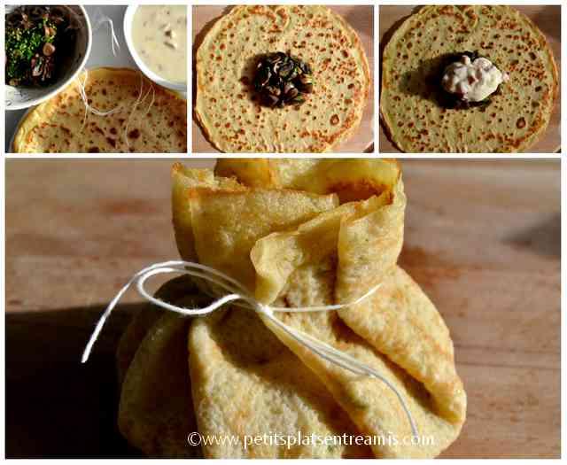 préparation aumonière jambon champignons