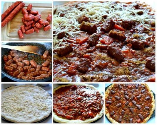 préparation pizza aux merguez