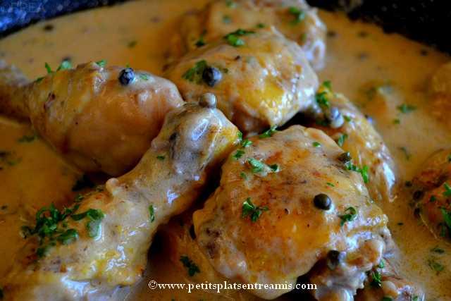 recette fricassée de poulet au poivre vert