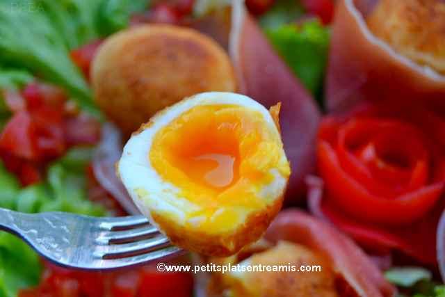 bouchée d'oeufs-panés-au-jambon-cru