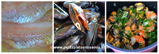 cuisson ingrédients coquilles de poisson