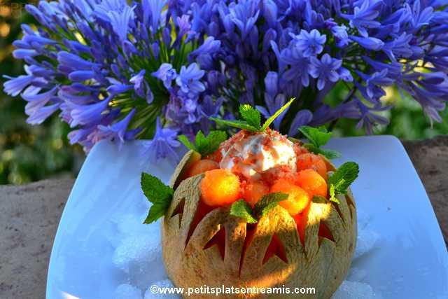 entrée Melon chantilly au jambon de pays