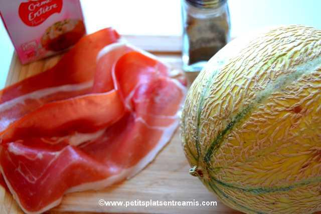 ingrédients Melon chantilly au jambon de pays