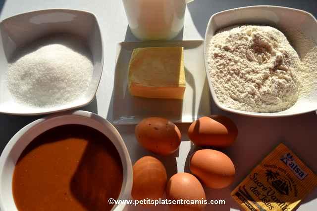 ingrédients gâteau magique au caramel
