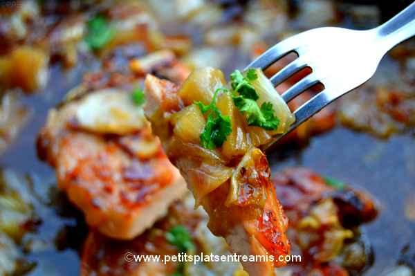 bouchée de Côtes-de-porc-et-fondue-d'endives-au-sirop-d'érable