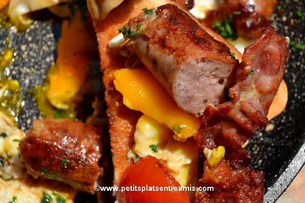 bouchée de saucisse-au-comté,-bacon-&-oeufs