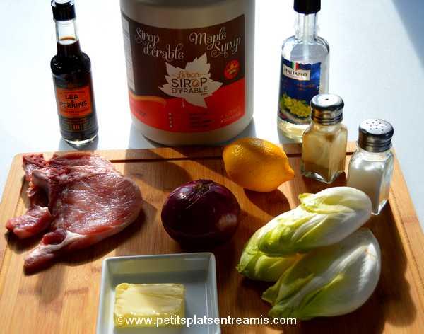 ingrédients Côtes-de-porc-et-fondue-d'endives-au-sirop-d'érable