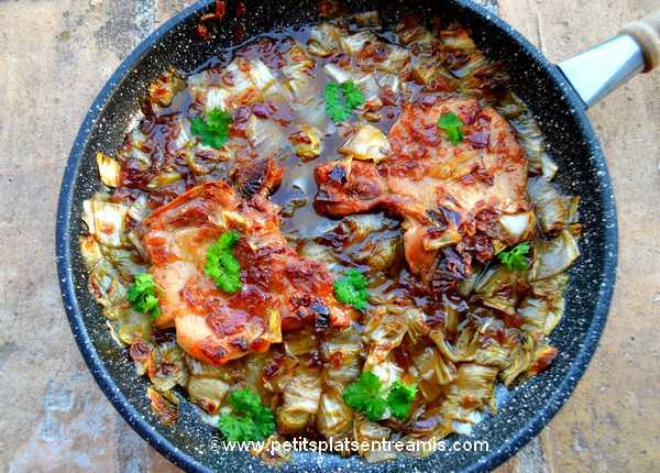 recette Côtes-de-porc-et-fondue-d'endives-au-sirop-d'érable