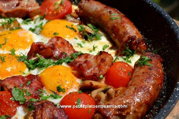 recette saucisse-au-comté,-bacon-&-oeufs