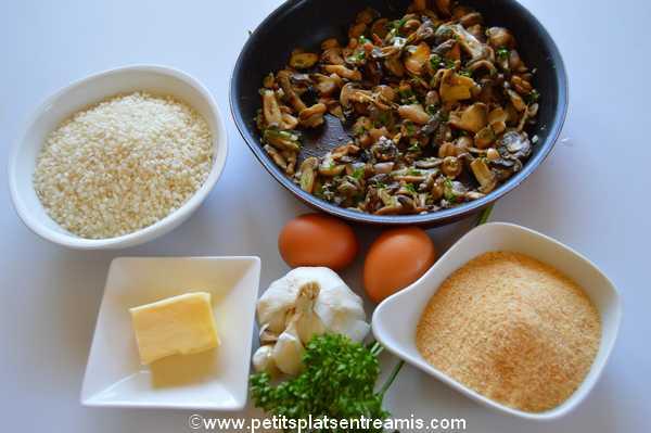 ingrédients boulettes de riz aux champignons