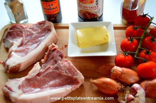 ingrédients côtes de porc noir de Bigorre sauce hoisin