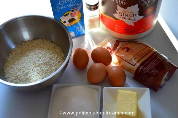ingrédients gâteau de riz au sirop d'érable