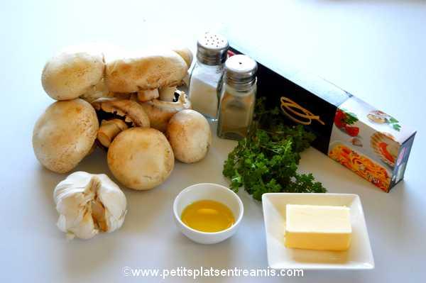 ingrédients pâtes à l'ail et au persil