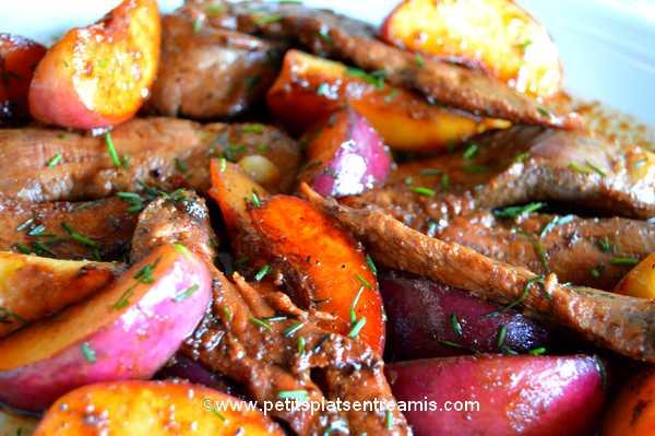 menu aiguillettes de canard aux nectarines