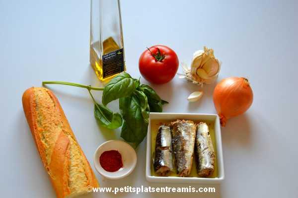 ingrédients pour tapas de sardines à l'huile