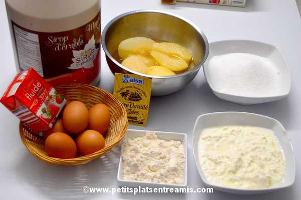 ingrédients tarte au fromage blanc -poires et sirop d'érable