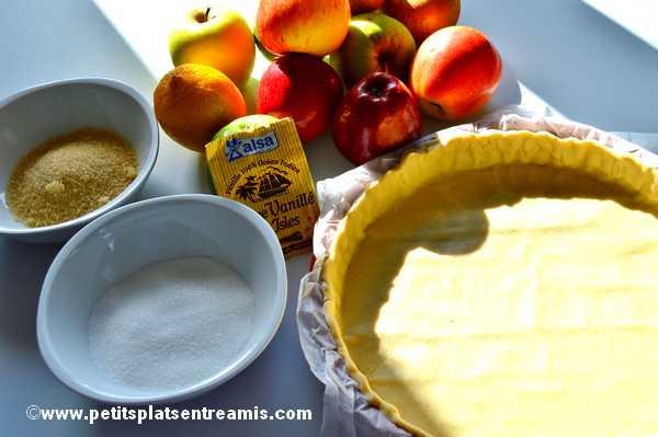 ingrédients tarte aux pommes et à la cannelle