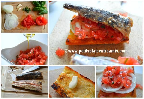 préparation tapas aux sardines à l'huile