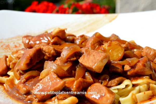 recette sauté de porc sucré-salé