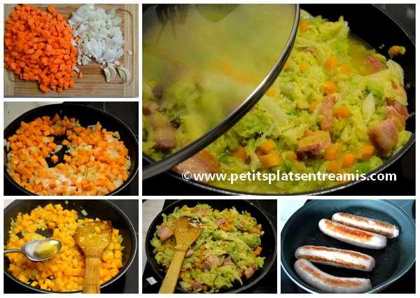 cuisson chou braisé aux saucisses