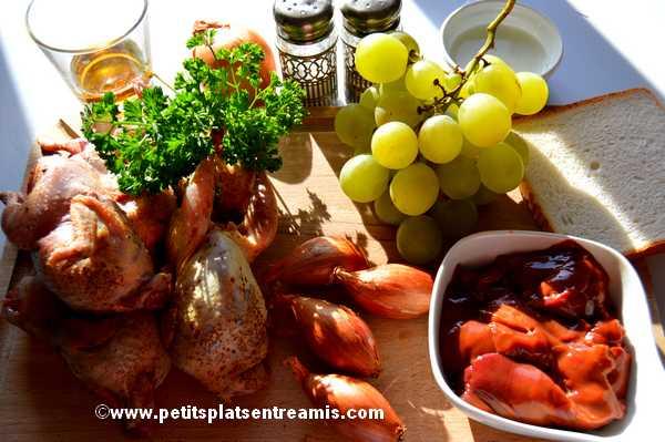 ingrédients des cailles aux raisins