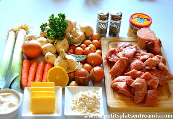 ingrédients pour blanquette de veau à l'ancienne