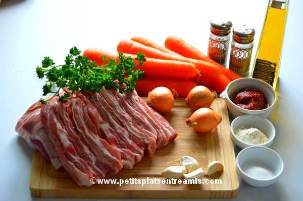 ingrédients pour poitrine d'agneau en ragoût